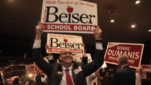 Kevin Beiser celebrated his lead in San Diego Unified school board election. Photo by Chris Stone