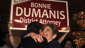 District Attorney Bonnie Dumanis is hugged at U.S. Grant Hotel. Photo by Chris Stone