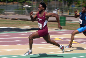 Kettrell Berry, a national class age-group sprinter, competed at a 2005 Hawaii masters meet. Photo by Ken Stone