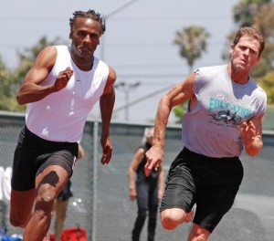 Kettrell Berry (left) competed at a 2009 masters track meet. Photo by Ken Stone