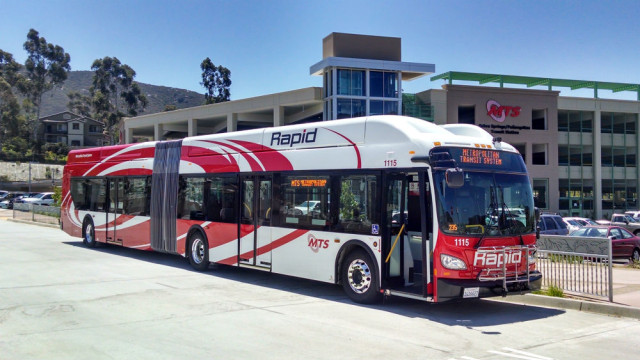 An MTS Rapid bus outside the Sabre Springs/Penasquitos Transit Station. Photo by Chris Jennewein