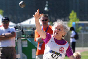 Olga Kotelko competes in the shot put at the 2011 World Masters Athletics Championships in Sacramento. Photo by Chris Stone