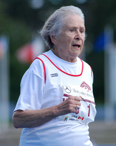Olga Kotelko sprints at the 2009 World Masters Athletics Championships in Lahi, Finland. Photo by Ken Stone