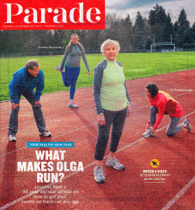 Parade magazine showed Kotelko flanked by coach Harold Morioka (left), training mate Christa Bortignon (right) and granddaughter Alesa Rabson, 23.