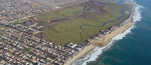 Aerial photo of coast south of Imperial Beach. Photo courtesy U.S. Fish & Wildlife Service