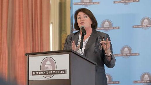 Assembly Speaker Toni Atkins (D-San Diego) speaks to the Sacramento Press Club. Image courtesy Atkins office