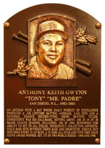 Tony Gwynn's plaque at the Baseball Hall of Fame in Cooperstown, N.Y. Image via baseballhall.org