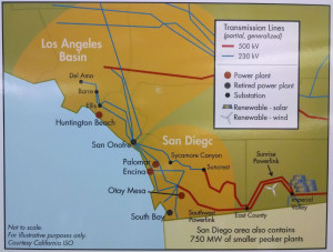 Map shows how transmission lines go through east San Diego County and San Onofre.