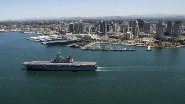 The amphibious assault ship USS Peleliu in San Diego Harbor. Navy photo
