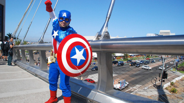 Captain America is Alek Pilman of Chicago on bridge overlooking Comic-Con at the San Diego Convention Center.