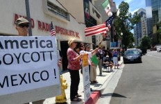 Immigration protesters in front of the Mexican Consulate-General in downtown San Diego. Photo courtesy of American for Legal Immigration