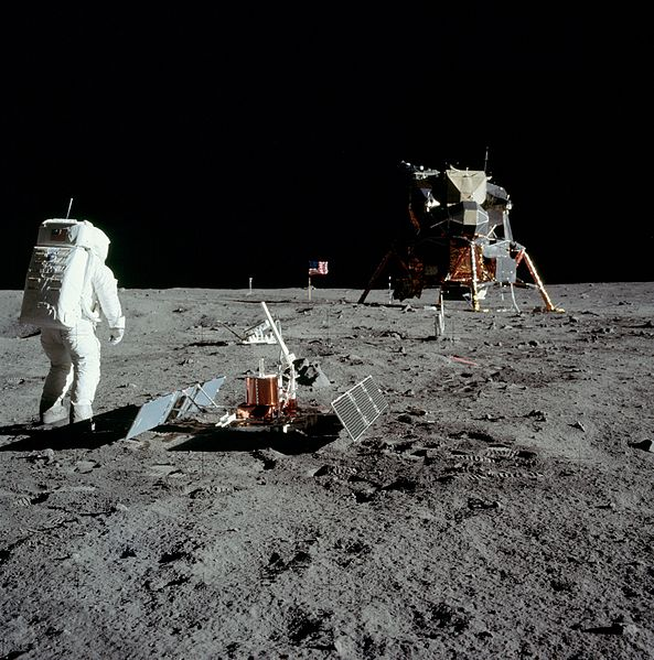 "Buzz Aldrin on Moon with experiment Astronaut Buzz Aldrin on the surface and the Lunar Module ""Eagle"" during the Apollo 11 extravehicular activity. Photo credit: NASA"