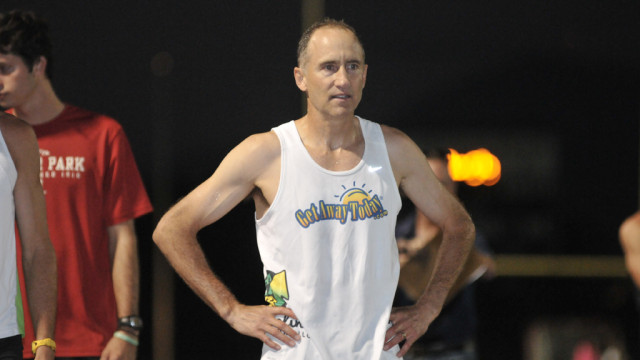 Brad Baron prepares for start of world record mile attempt at Olympian High School