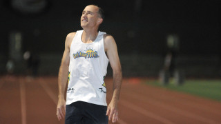 Brad Barton prepares for world record mile attempt.