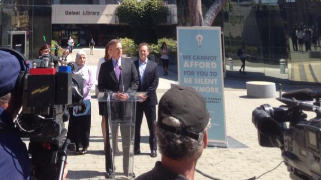 Scott Peters at a press conference at UC San Diego to call on Speaker John Boehner to act on immigrant reform. Photo courtesy of Scott Peters' office