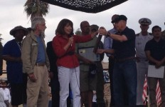 Rep. Susan Davis (D-San Diego) presented Stand Down co-founder Jon Nachison with a commendation for his work with the homeless veterans. Photo courtesy of Susan Davis's Twitter.