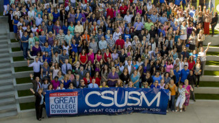"Cal State San Marcos employees celebrate the designation as a ""great university to work for."" Photo courtesy CSUSM"