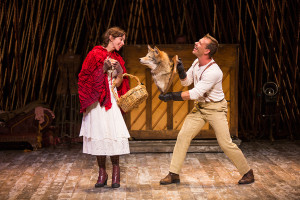 "Emily Young as Little Red Ridinghood and Noah Brody as Wolf in  ""Into the Woods"" at The Old Globe. Photo by Jim Cox"