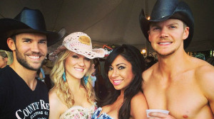Kevin, left, and Darin Blue with friends at a country music event.