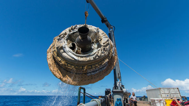 NASA's Low Density Supersonic Decelerator is recovered from the ocean after its test flight.  NASA/JPL-Caltech photo