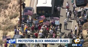 The immigration protest in Murrietta on Tuesday. Image from 10News broadcast