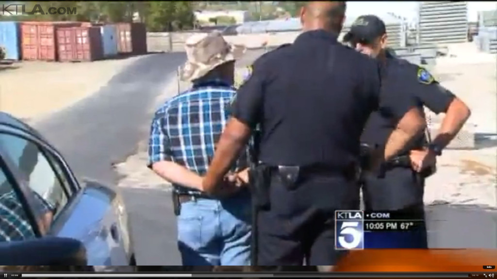 Five people were arrested Friday in Murrieta after a skirmish with police. Photo courtesy of KTLA