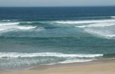 A rip current off a California beach. Photo courtesy National Weather Service