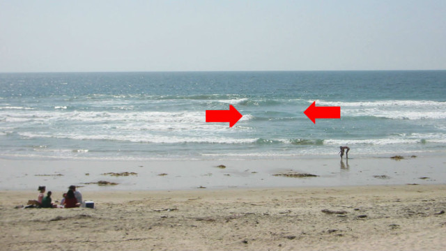 Arrows in this image from the National Weather Service indicate a rip current.