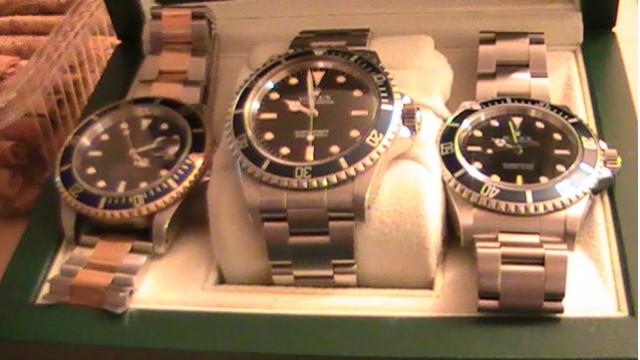 Different models of the Rolex Submariner watch. Photo via Wikimedia Commons