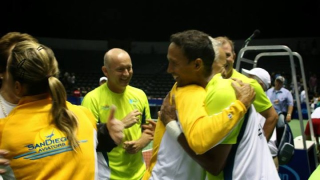 The San Diego Aviators won against the Boston Lobsters in a World TeamTennis match at Valley View Casino Center. Photo courtesy of San Diego Aviators