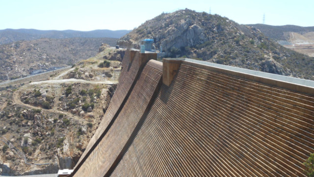 The raised portion of the San Vicente Dam. Photo courtesy San Diego County Water Authority