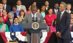 President Obama being introduced by Los Angeles Clipper Chris Paul July 21, 2014. Photo credit: NBA via YouTube.