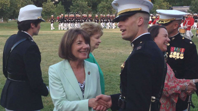 Rep. Susan Davis with Marines at Arlington Cemetery. Photo courtesy Davis' office