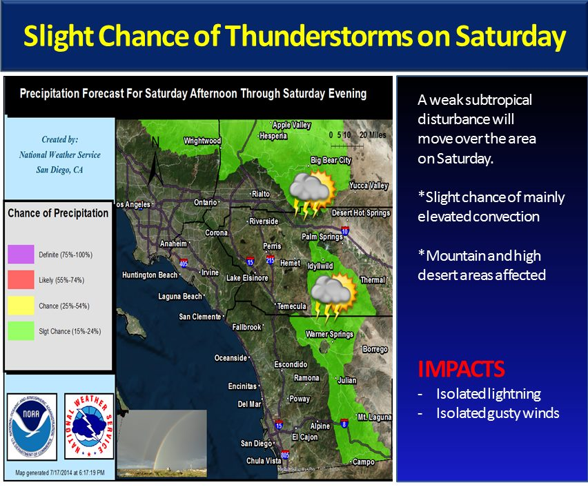 A weak sub-tropical system brings a slight chance of mountain and high desert thunderstorms. Image courtesy of the National Weather Service