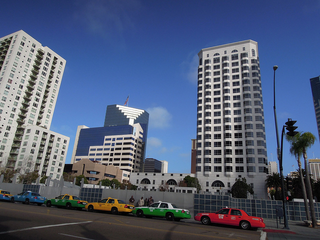San Diego taxis waiting downtown. Photo courtesy of Alby Antoniazzi