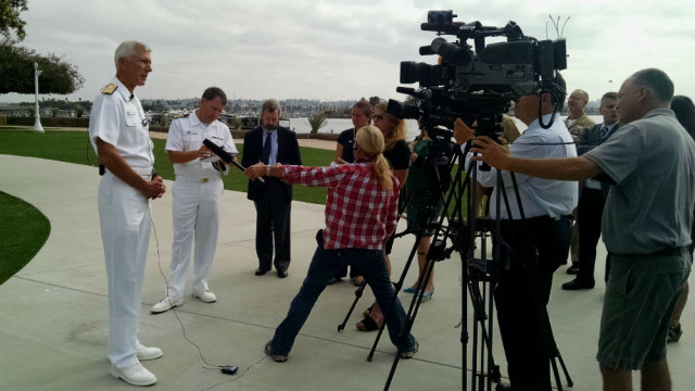 Admiral Samuel J. Locklear III at a press conference at Naval Base Pt. Loma. Photo by Chris Jennewein