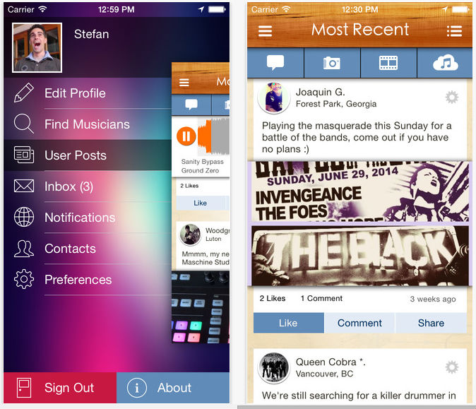 Screenshots of the BandFriend app for the Apple iPhone.