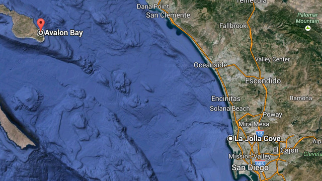 A map showing the distance between Avalon Bay and La Jolla Cove.