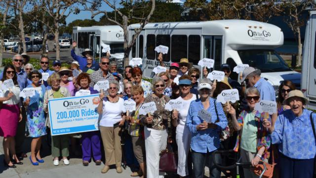 Seniors celebrate 200,000 rides via Jewish Family Services's On the Go program. Courtesy JFS