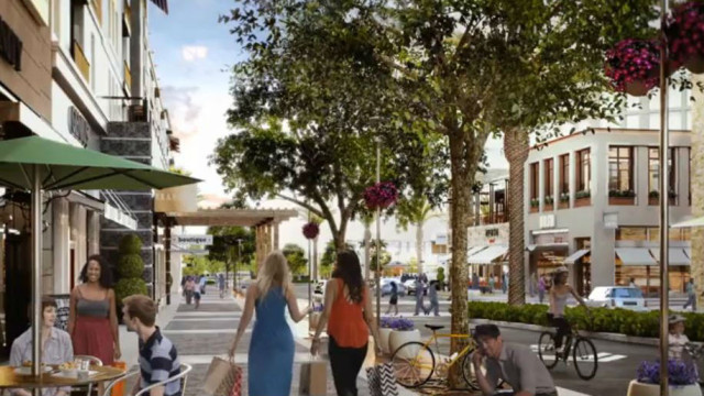 "A rendering of the One Paseo project's ""main street."""