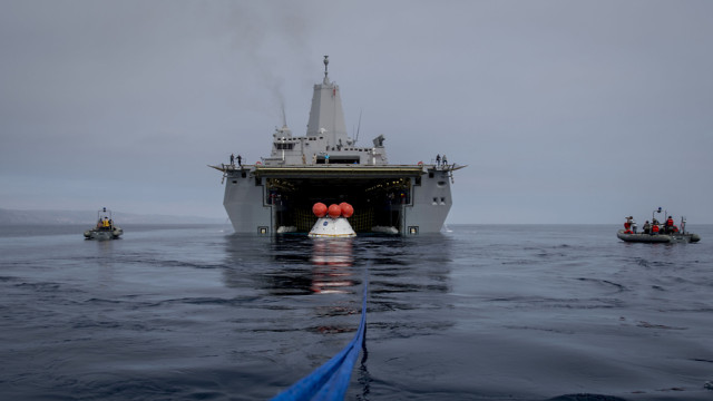 Orion in the well deck of the USS Anchorage. Navy photo