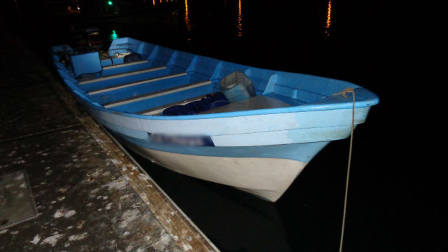 The 30-foot panga boat at a dock in Oceanside. Photo courtesy Customs and Border Protection