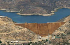 The San Vicente Dam, a major reservoir for San Diego County. Photo courtesy water authority
