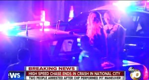 Scene of arrest at high-speed chase Friday. Photo credit: 10News.com