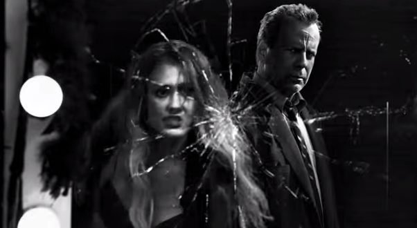 "Jessica Alba, left, and Bruce Willis, in ""Sin City: A Dame to Kill For."" Photo credit: Dimension Films via YouTube."