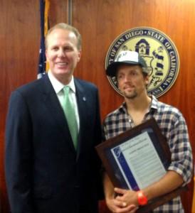 Mayor Kevin Faulconer with Jason Mraz
