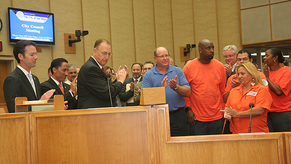 Public works employees in San Diego are honored by the City Council. Photo credit: sandiego.gov