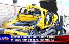 Truck crashes into Dave & Buster's