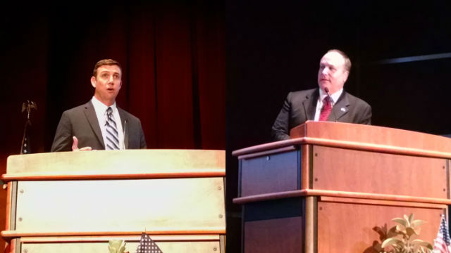 Republican Duncan Hunter, left, and Democratic challenger James Kimber at Cuyamaca College. Photos by Chris Jennewein