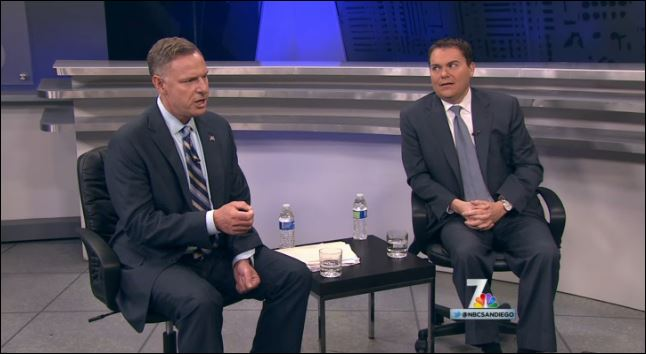 Rep. Scott Peters, left, and challenger Carl DeMaio debate on NBC.